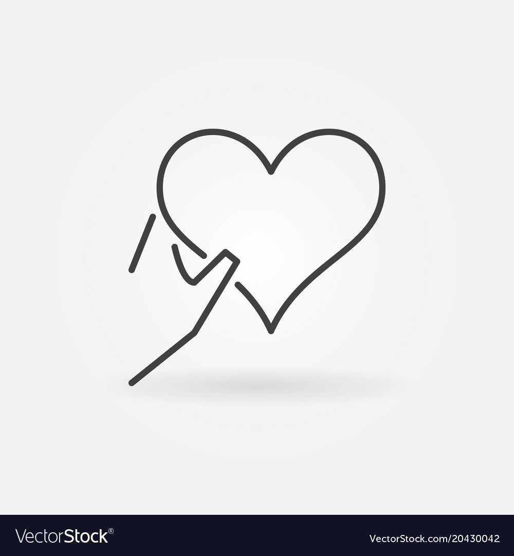 Heart in hand outline icon charity symbol