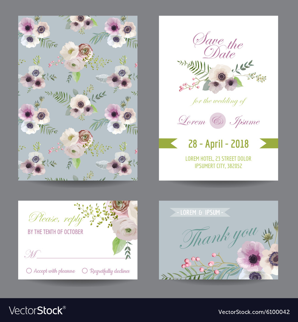 Invitation or Greeting Card Set - for Wedding