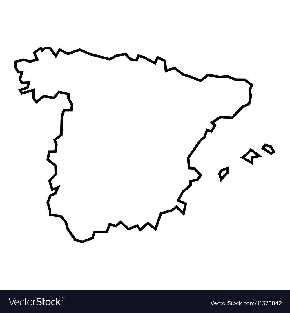 Map of Spain icon outline style Royalty Free Vector Image