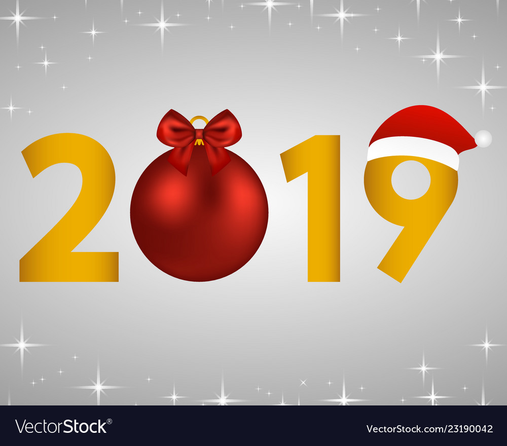 New year 2019 on a silver background