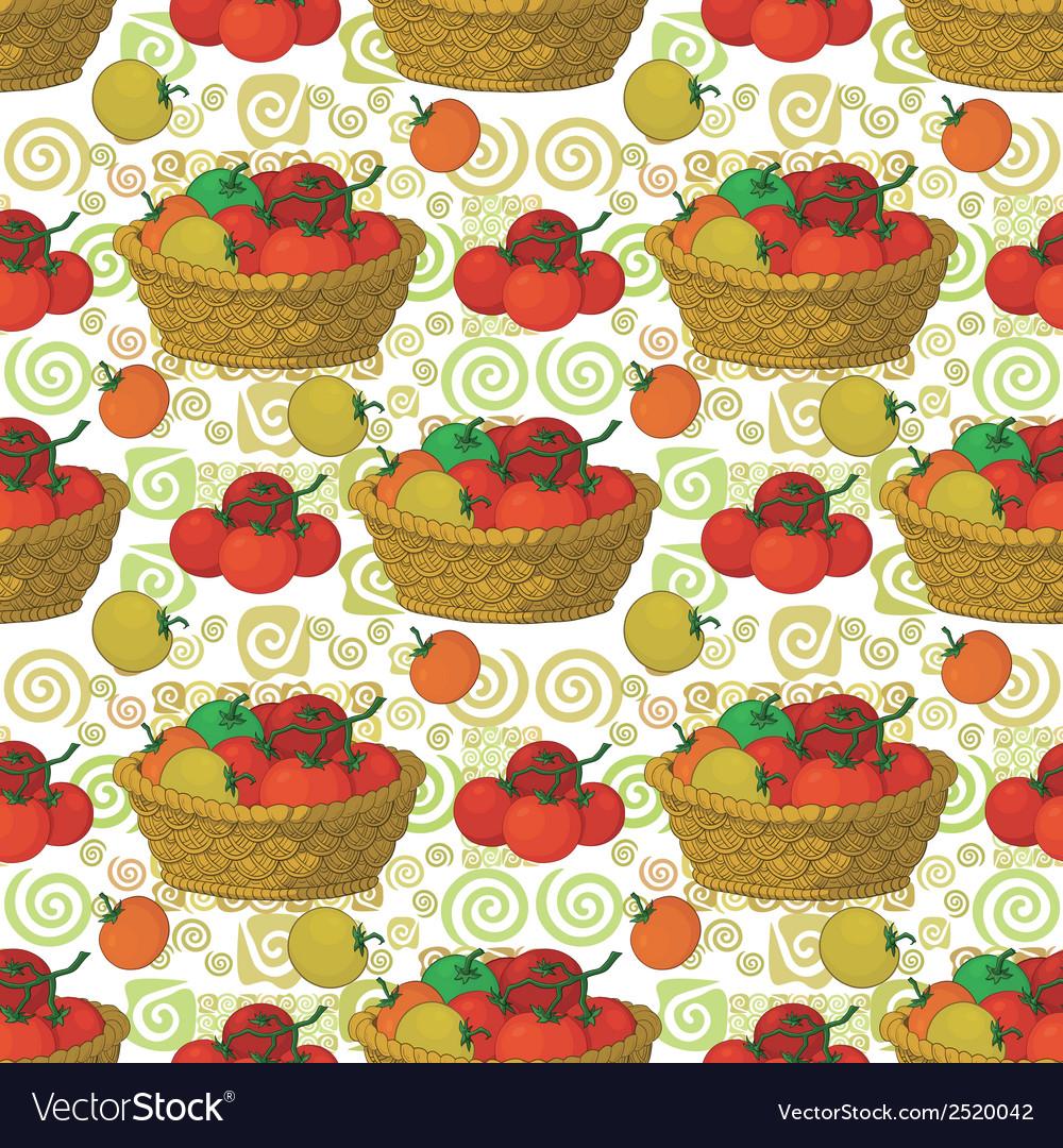 Seamless pattern baskets and tomatoes
