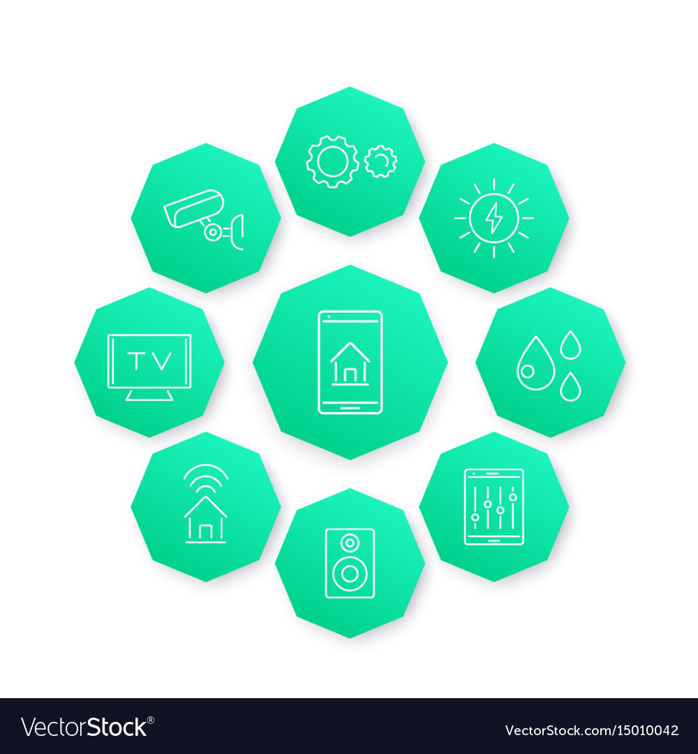 Smart house line icon modern pictograms