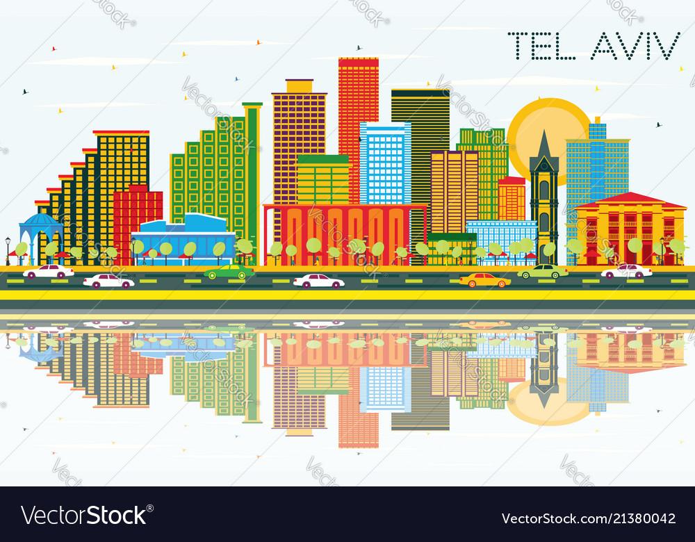 Tel aviv israel city skyline with color buildings
