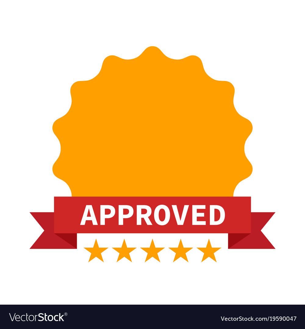 Approved certificate icon with five stars