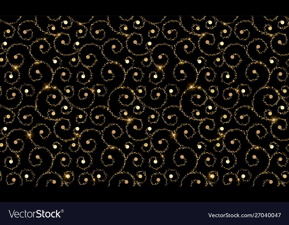 Black and gold ornamental pattern abstract modern