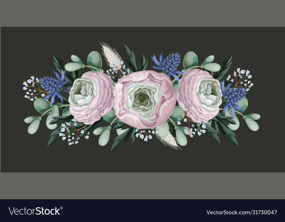Bouquet with delicate ranunculus eucalyptus and
