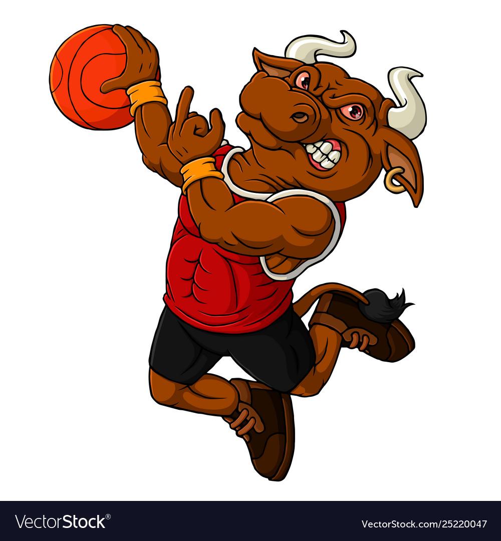 Cartoon bull basketball mascot