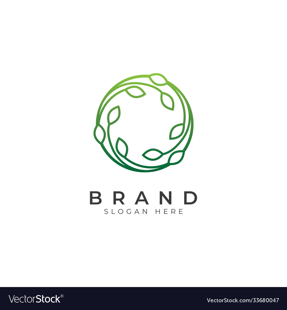 Circle green leaf icon logo design template
