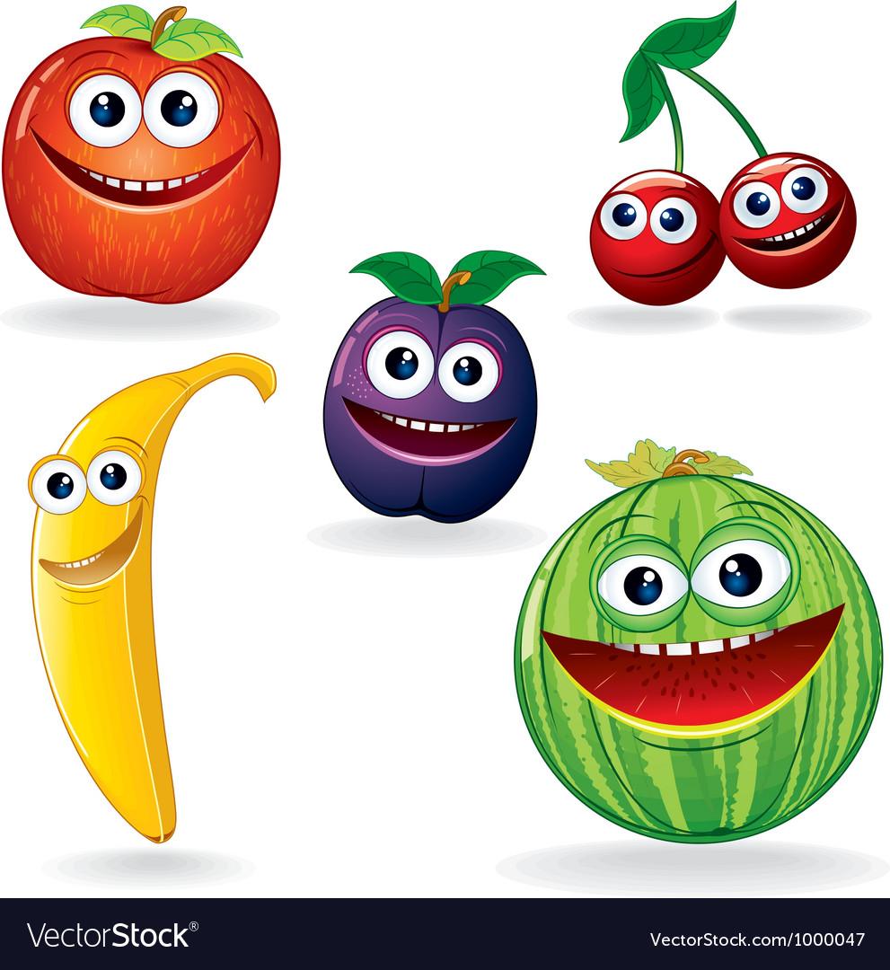 Funny Fruits Cartoons vector image
