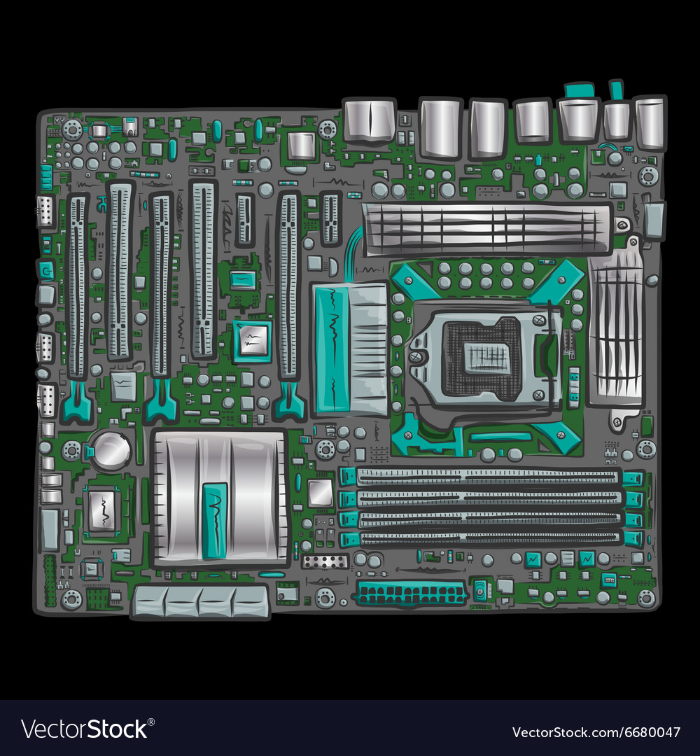 Hand drawn motherboard
