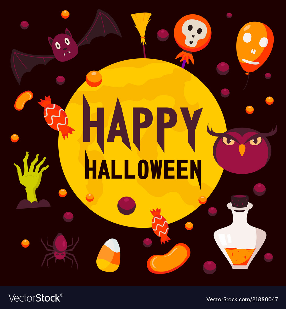 Happy halloween day concept background flat style