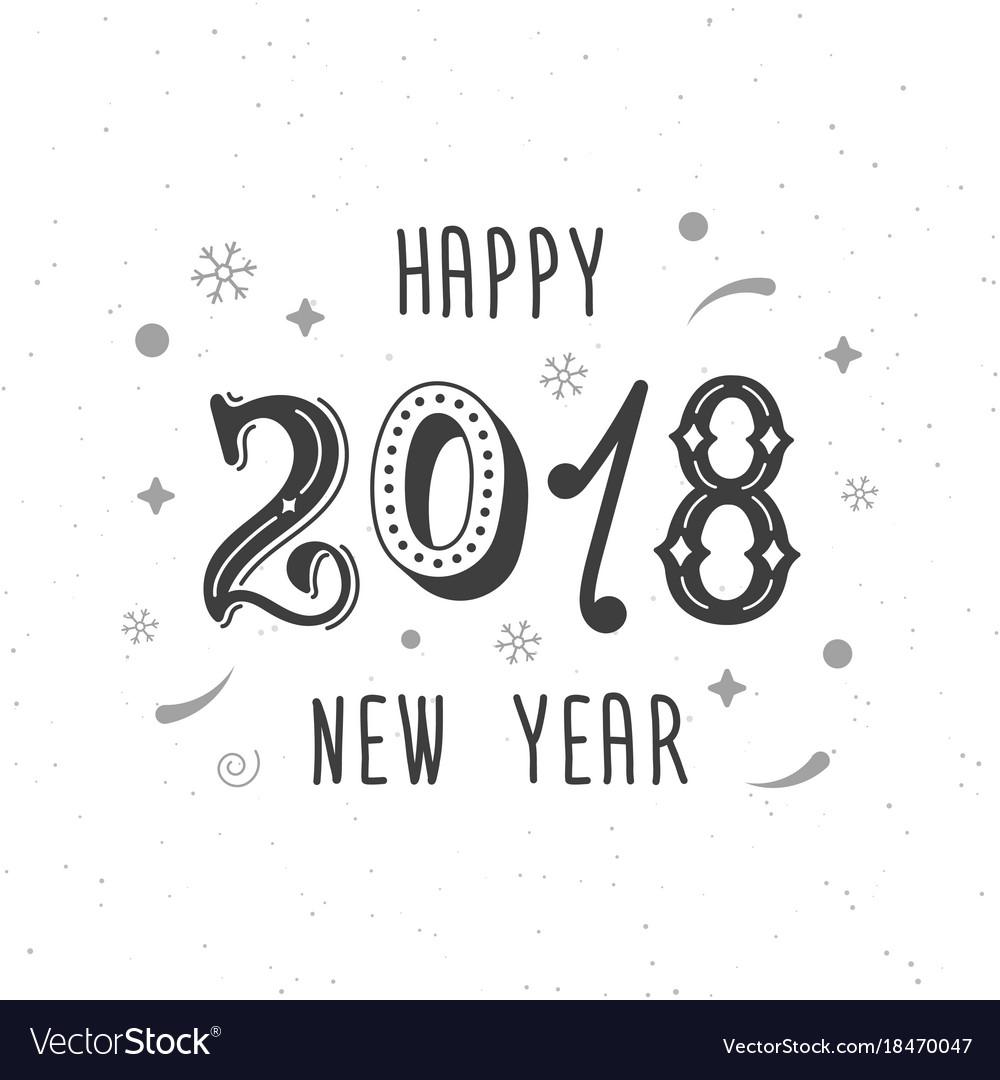 Happy new year 2018 hand written modern brush