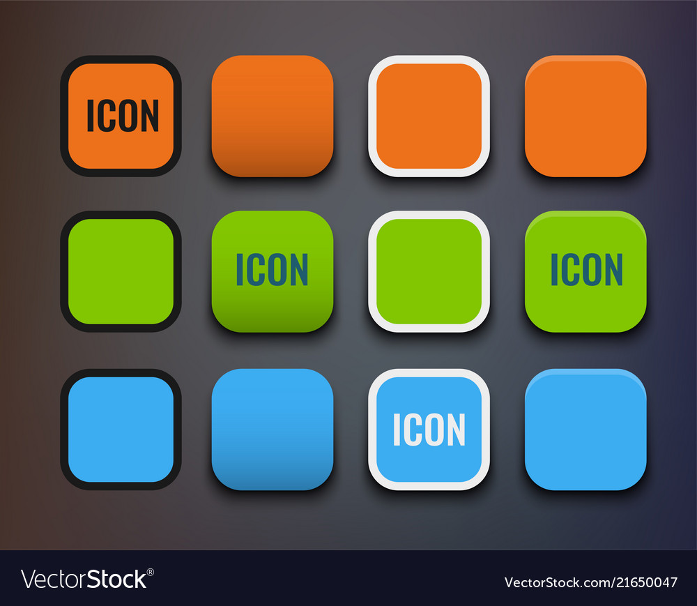 Icon template set different backgrounds and