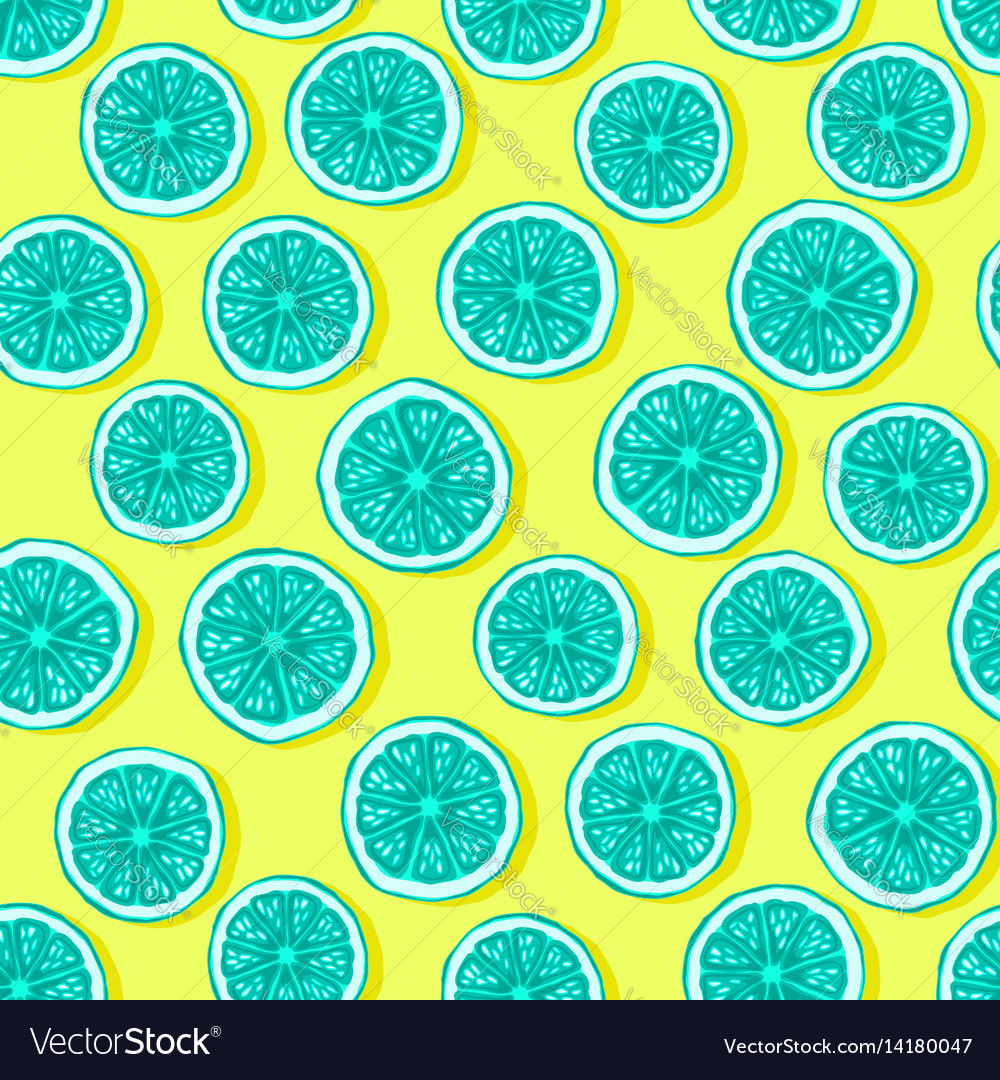 Lemons seamless pattern bright colours vector image