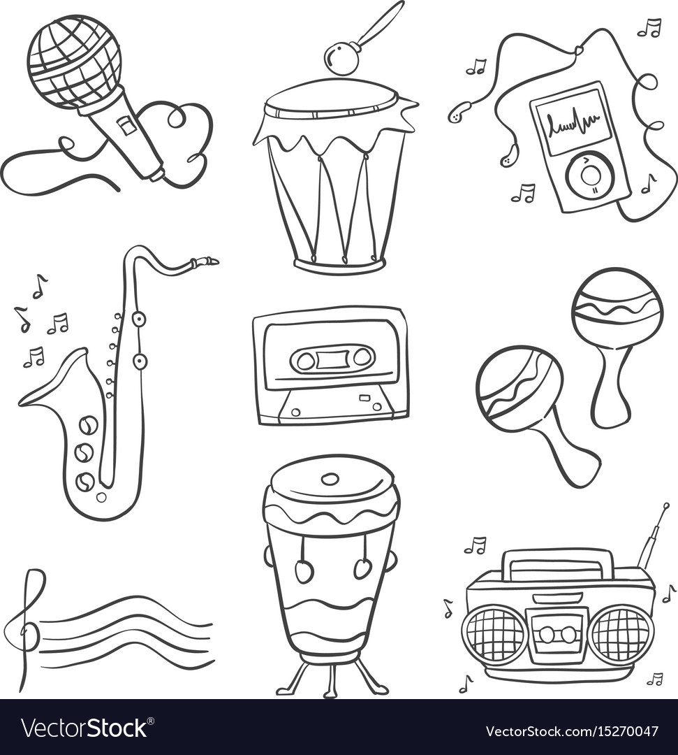Music doodles hand draw