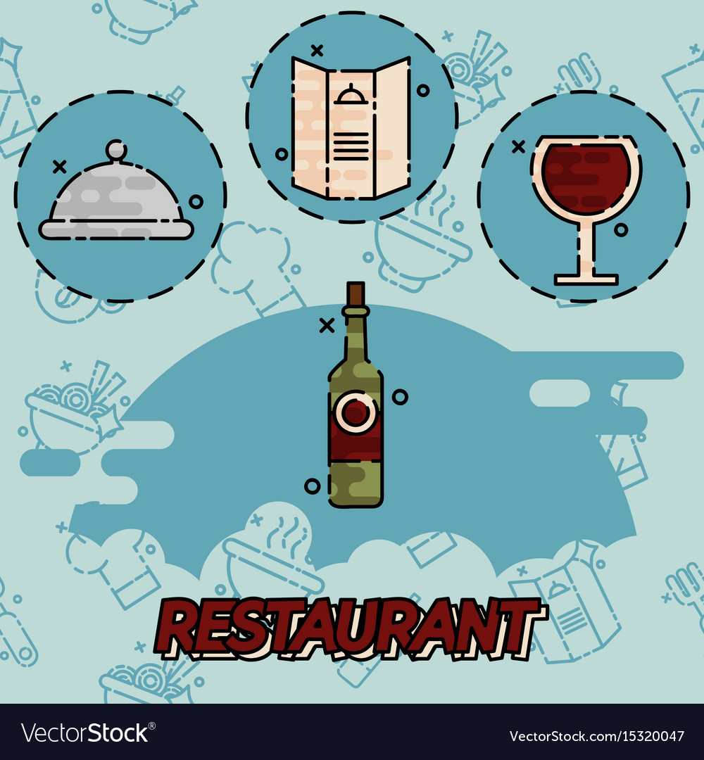 Restaurant flat concept icons