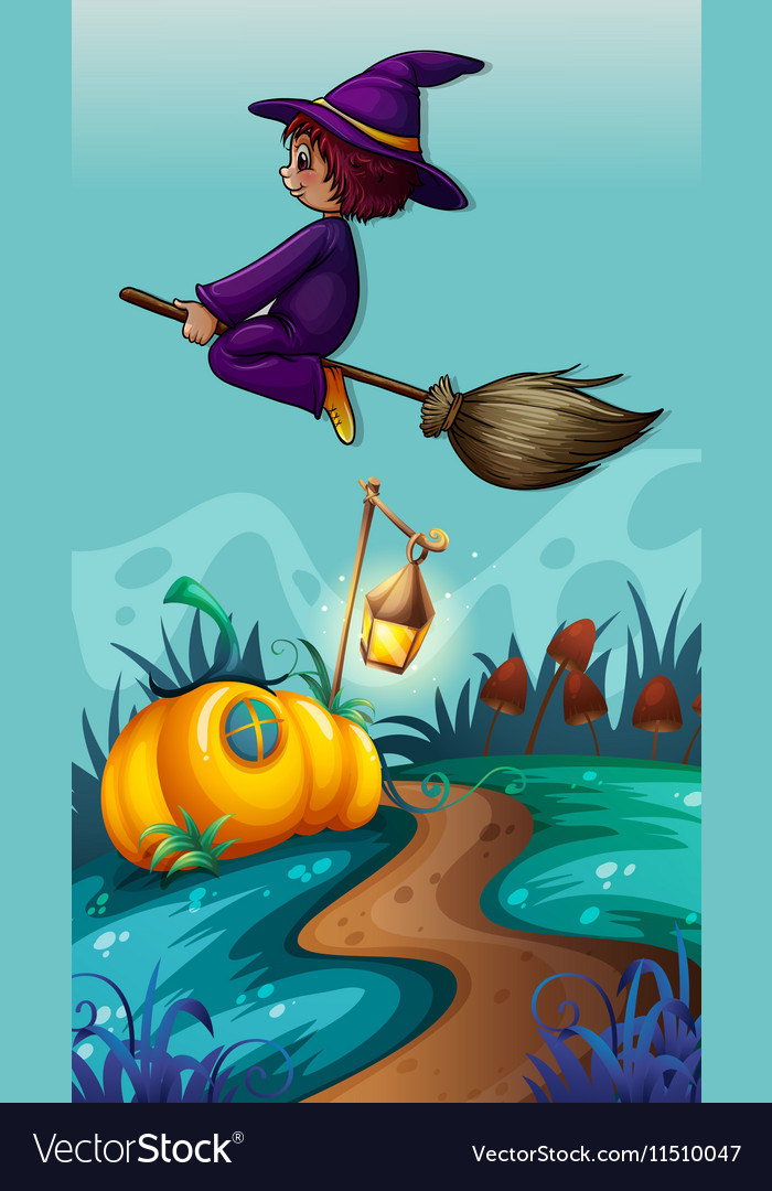 Scene with witch on flying broom