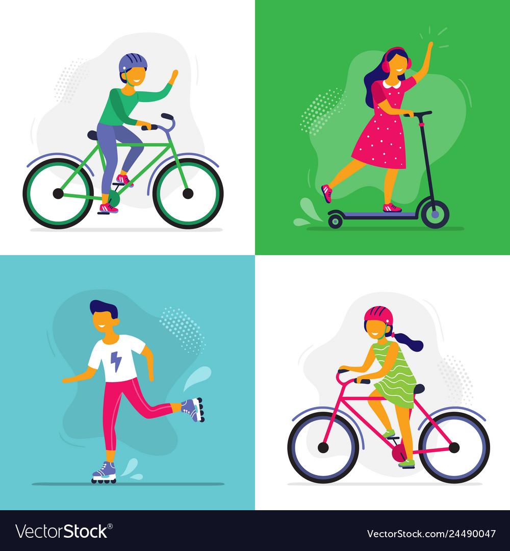 Skating kids children ride bike rollerblades and