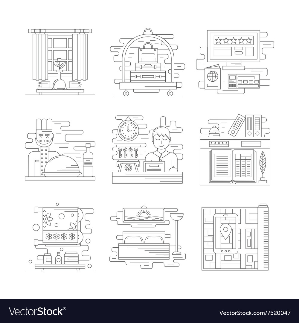 Travel services icons flat line style