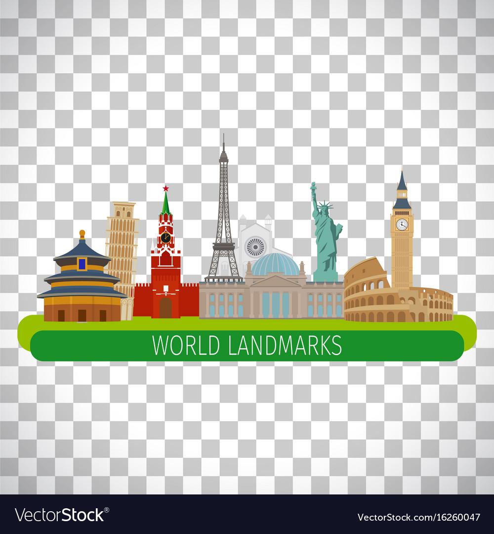 World landmarks on transparent background