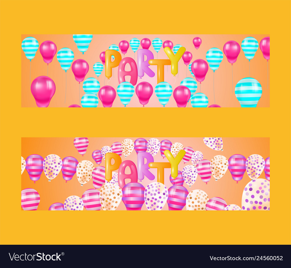 Balloon font set of banners