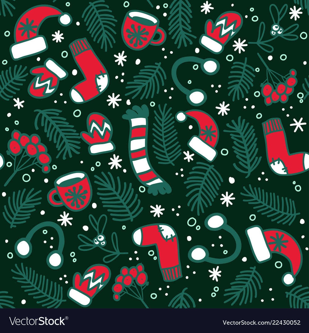 Christmas pattern with red mittens socks hats