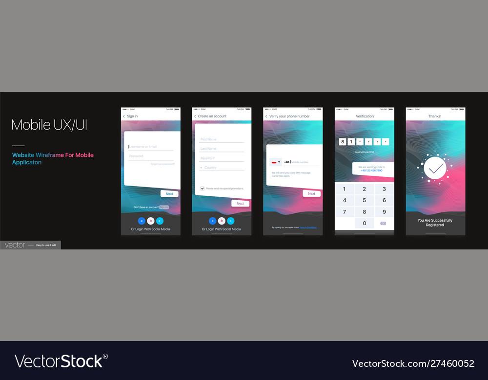 Design mobile application ui ux set of