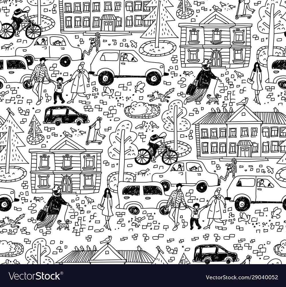 Doodles street in sity people cars houses seamless