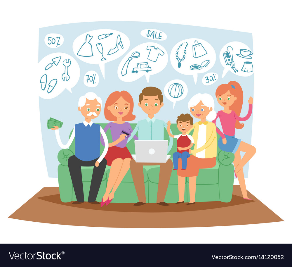 Family together dreaming online shopping sales