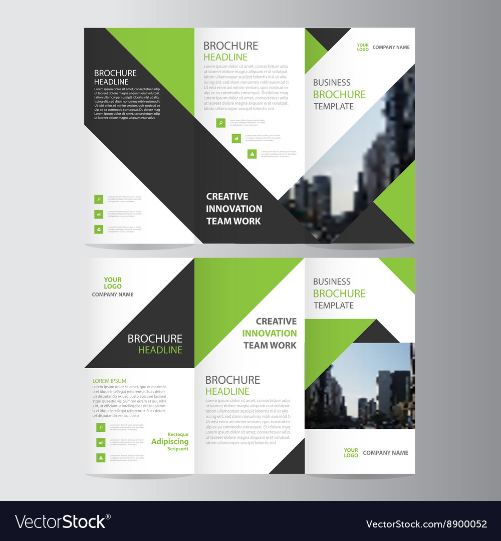 Green business trifold leaflet brochure template vector image wajeb