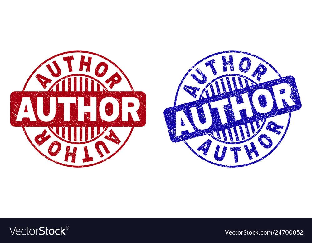 Grunge author textured round stamp seals