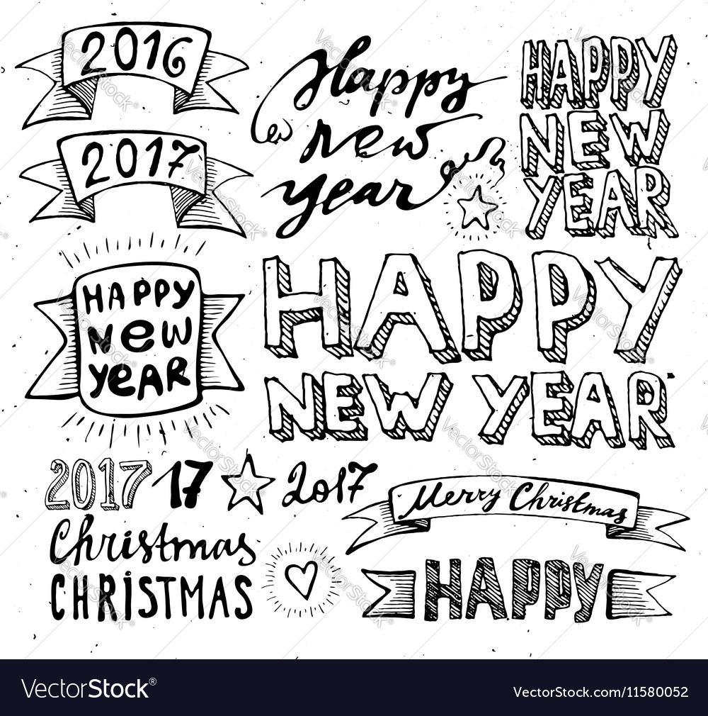 Hand draw Set Christmas and Happy New Year