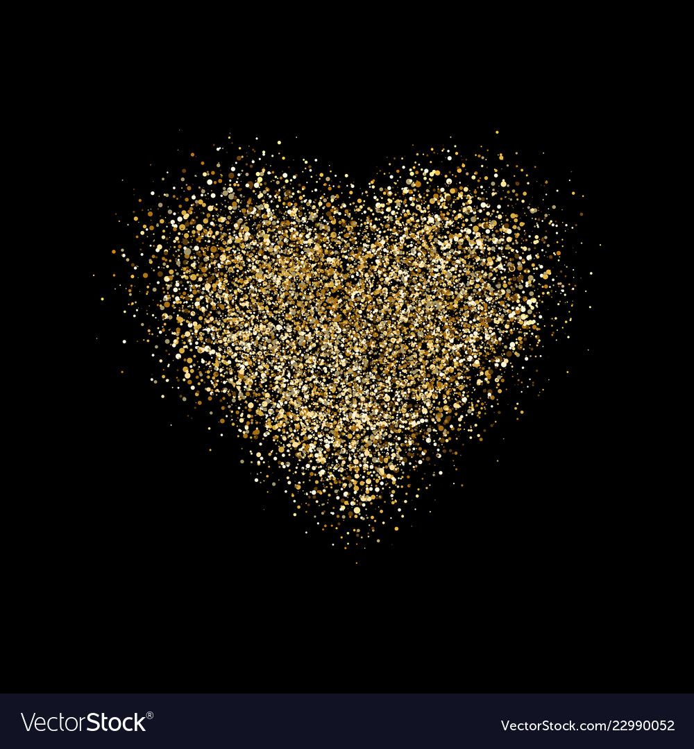 Heart with glitter confetti on black background