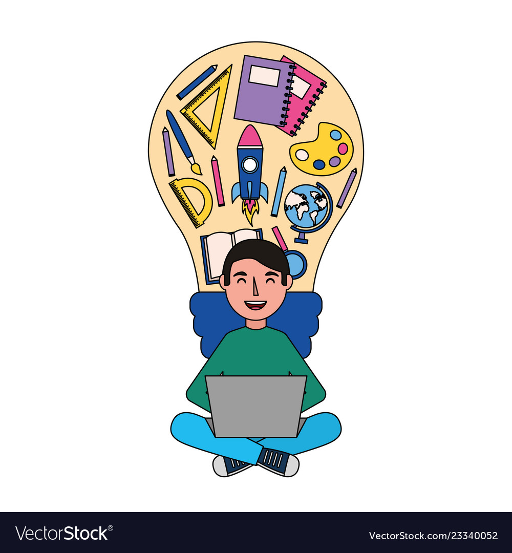 Man with laptop and bulb creativity education