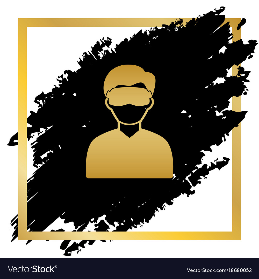 Man with sleeping mask sign golden icon