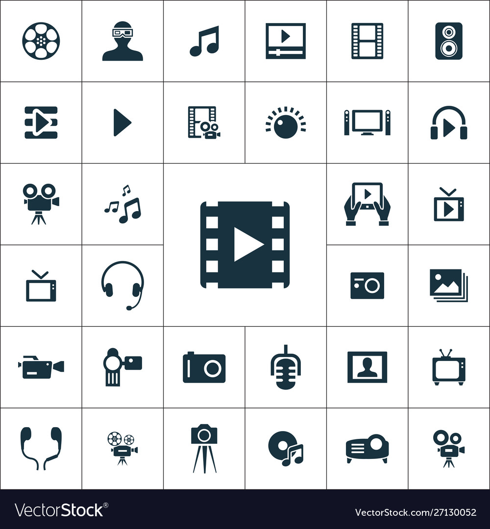 Multimedia video icons universal set for web and