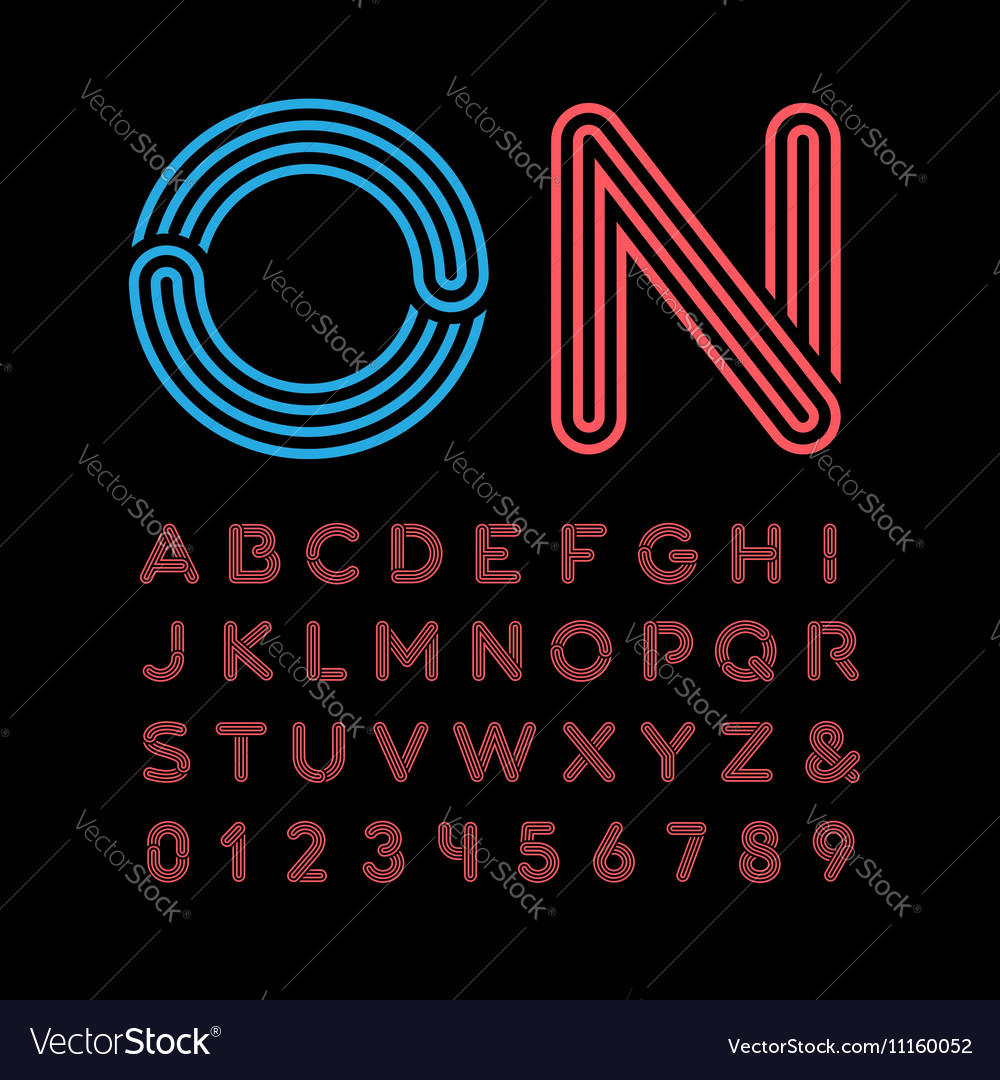 Neon font alphabet with neon effect letters and