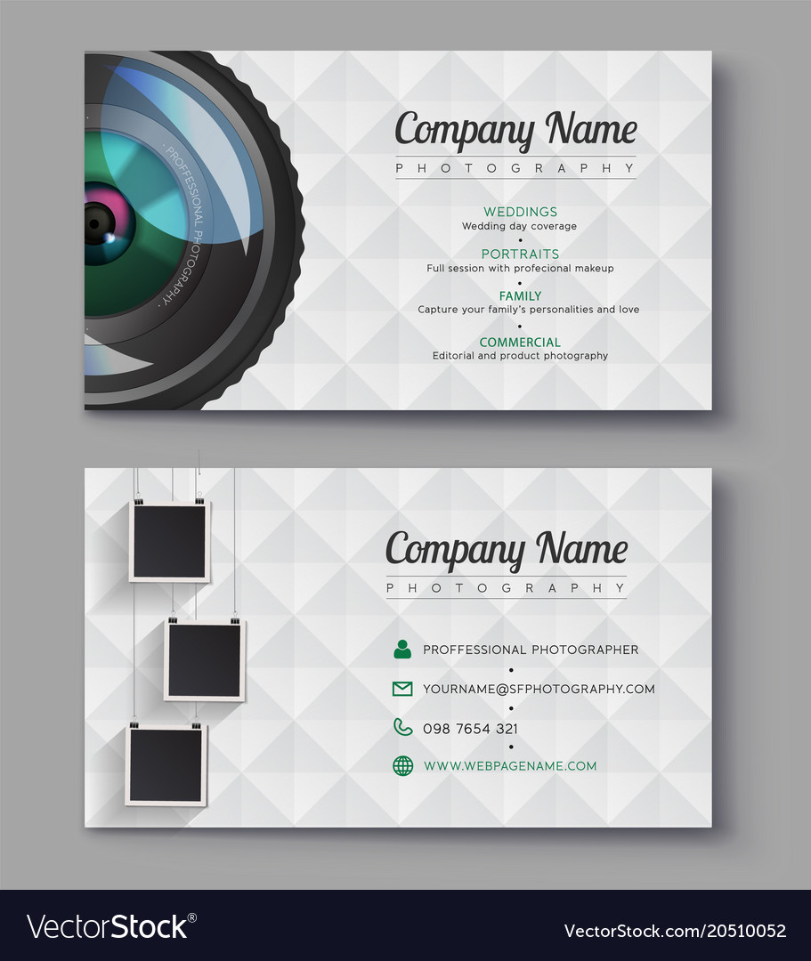 Photographer business card template design for vector image cheaphphosting