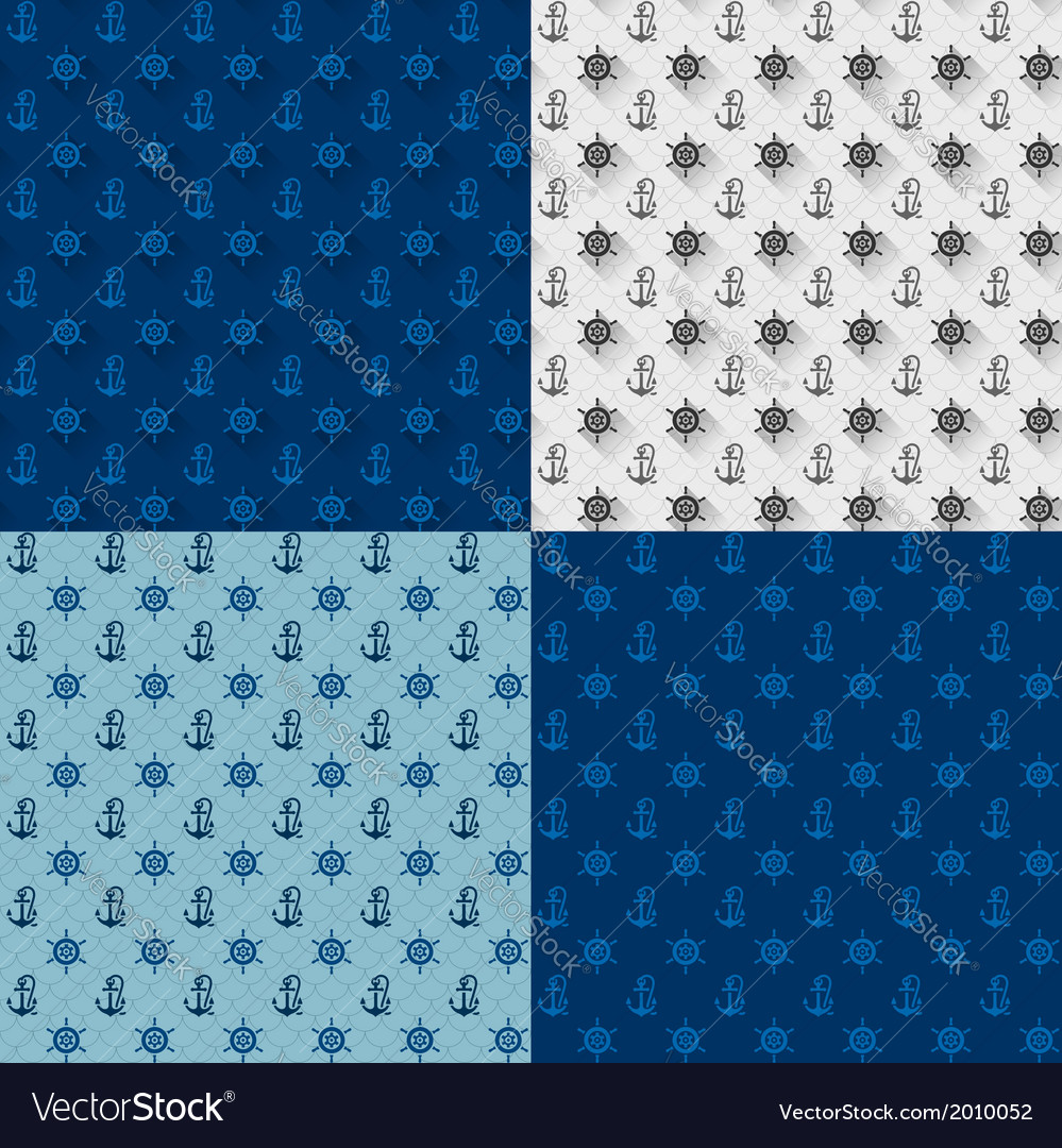 Seamless patterns set anchors and steering wheel