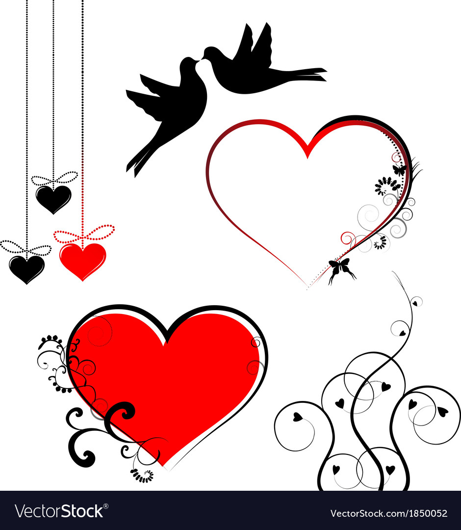 Set Of Valentines Day Symbols Royalty Free Vector Image