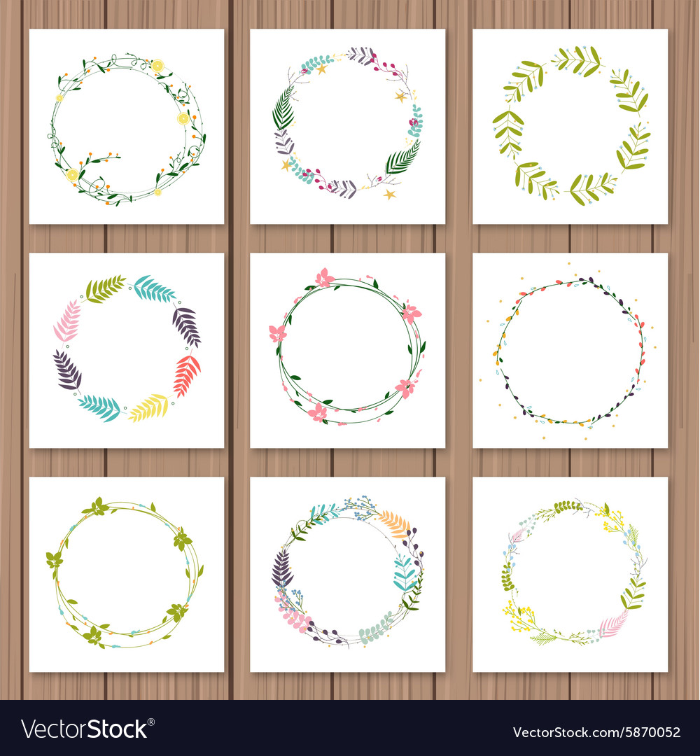 Set with floral wreaths template for wedding