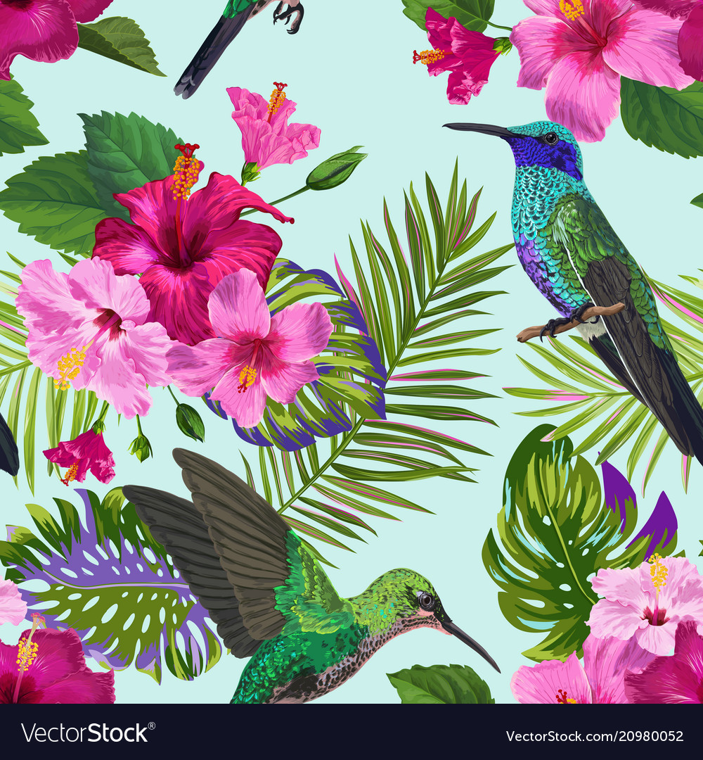 Tropical seamless pattern hummingbirds flowers