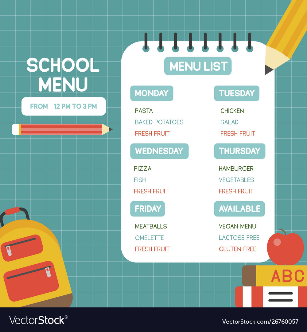Back to school school menu poster template