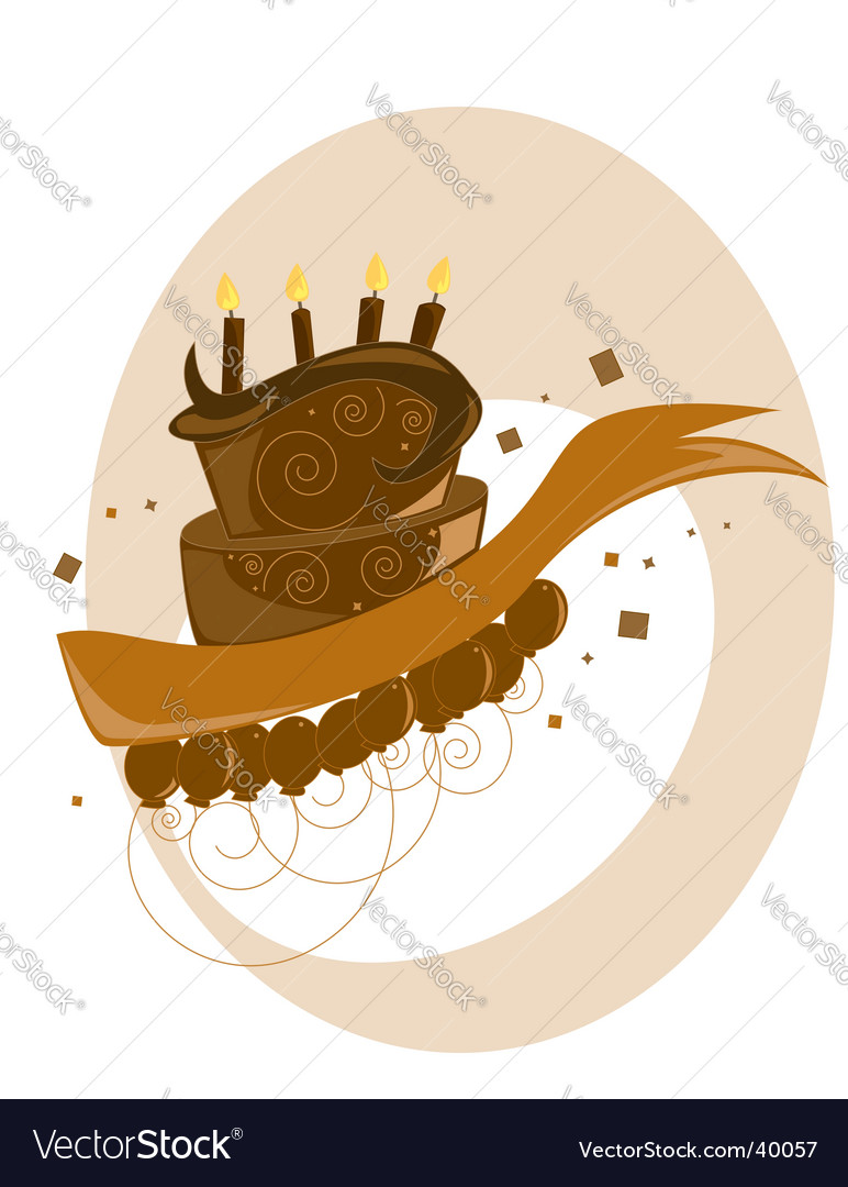 Brown Birthday Cake Balloons Vector. Artist: RandomWay; File type: Vector
