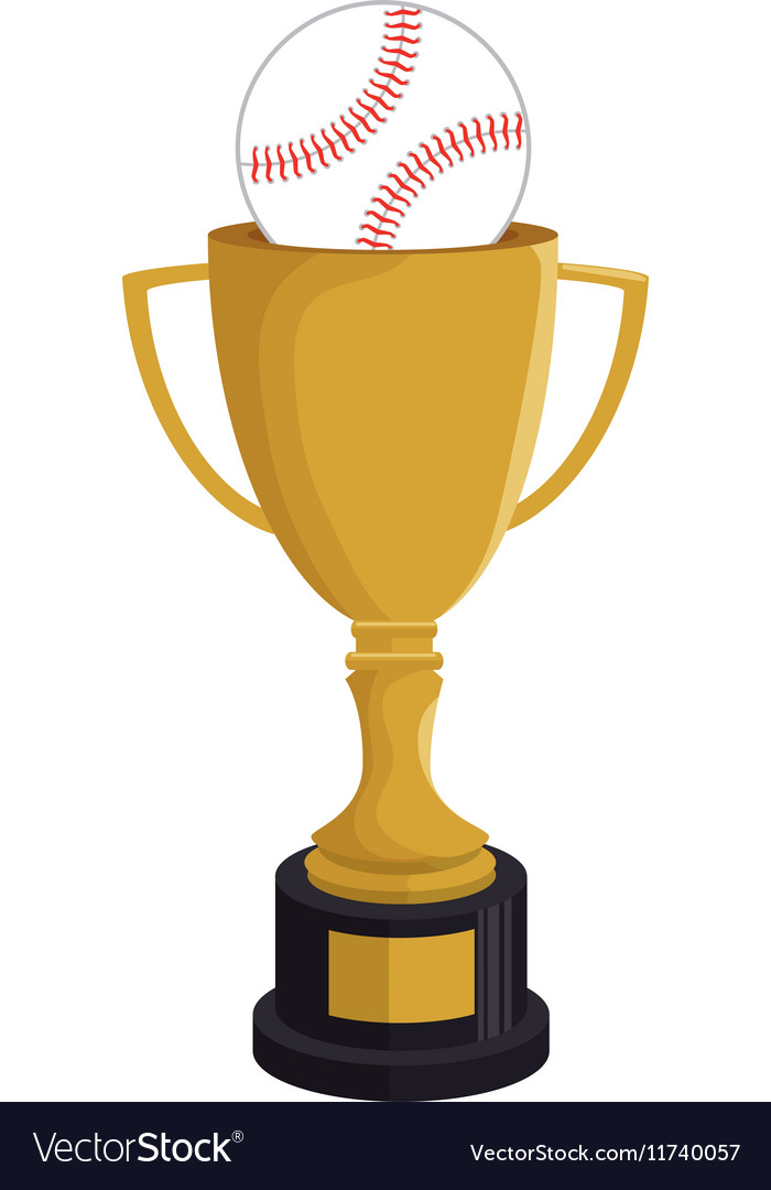 Cartoon trophy champion baseball icon vector image
