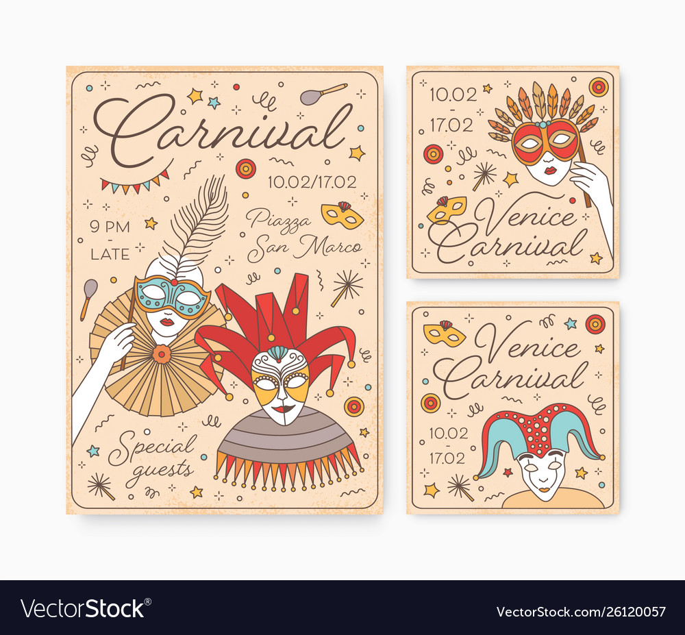 Collection decorative card party invitation