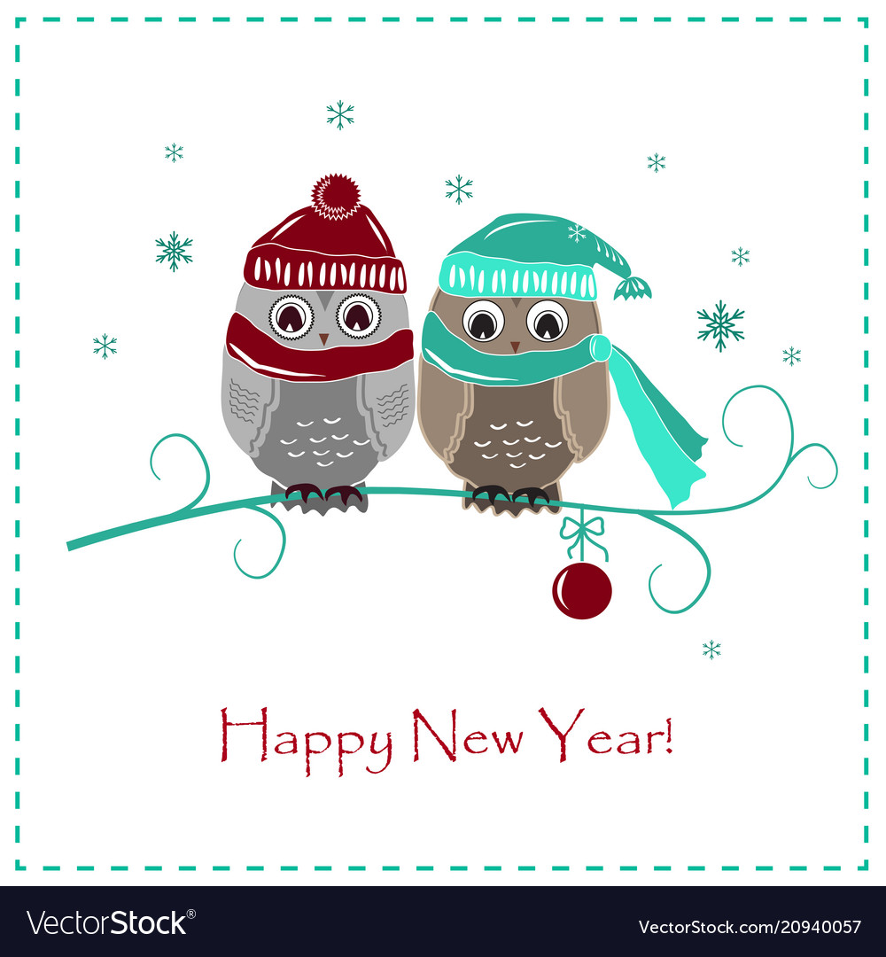 Cute winter card two baby owls