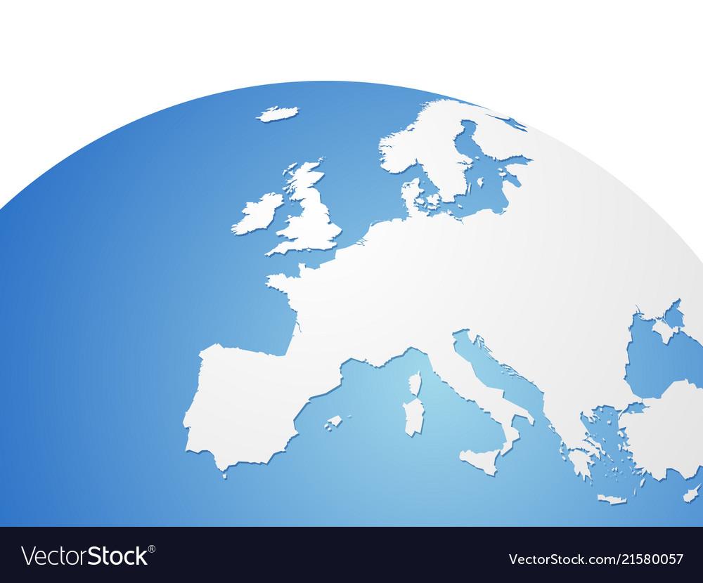 Europe Map On World Globe Royalty Free Vector Image