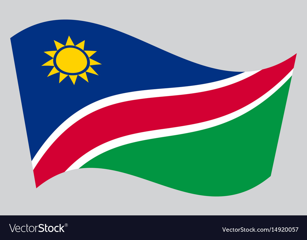 Flag of namibia waving on gray background