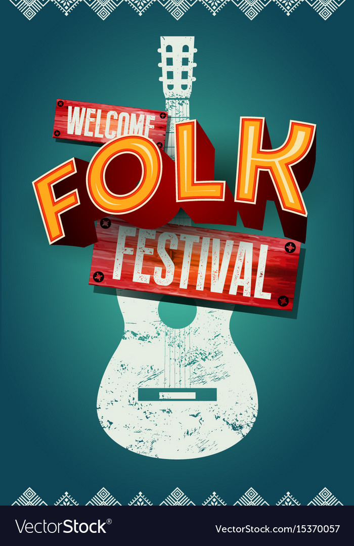 Folk festival poster with acoustic guitar shape